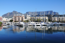 View of Table Mountain and the V&A Waterfront in Cape Town